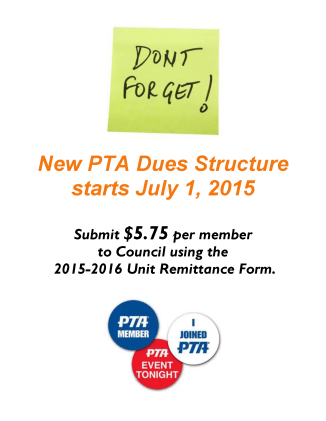 New PTA Dues Structure