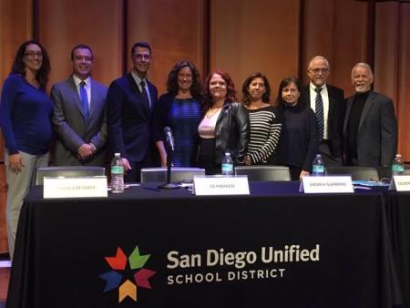 Pictured from left, Shaina Gross, Senior Vice President, Chief Impact Officer, United Way of San Diego, Mark Cafferty, President and CEO, San Diego Regional Economic Development Corp., Ed Hidalgo, Senior Director of Staffing, Qualcomm, Superintendent Cindy Marten, San Diego Unified School District, Celeste Bobryk-Ozaki, President of San Diego Unified Council of PTAs, Andrea Guerrero, Executive Director, Alliance San Diego, Clare Crawford, President and Executive Director, Center for Policy Initiatives, Gregg Robinson, President, San Diego County Board of Education, and Dr. Michael McQuary, President of the San Diego Board of Education.